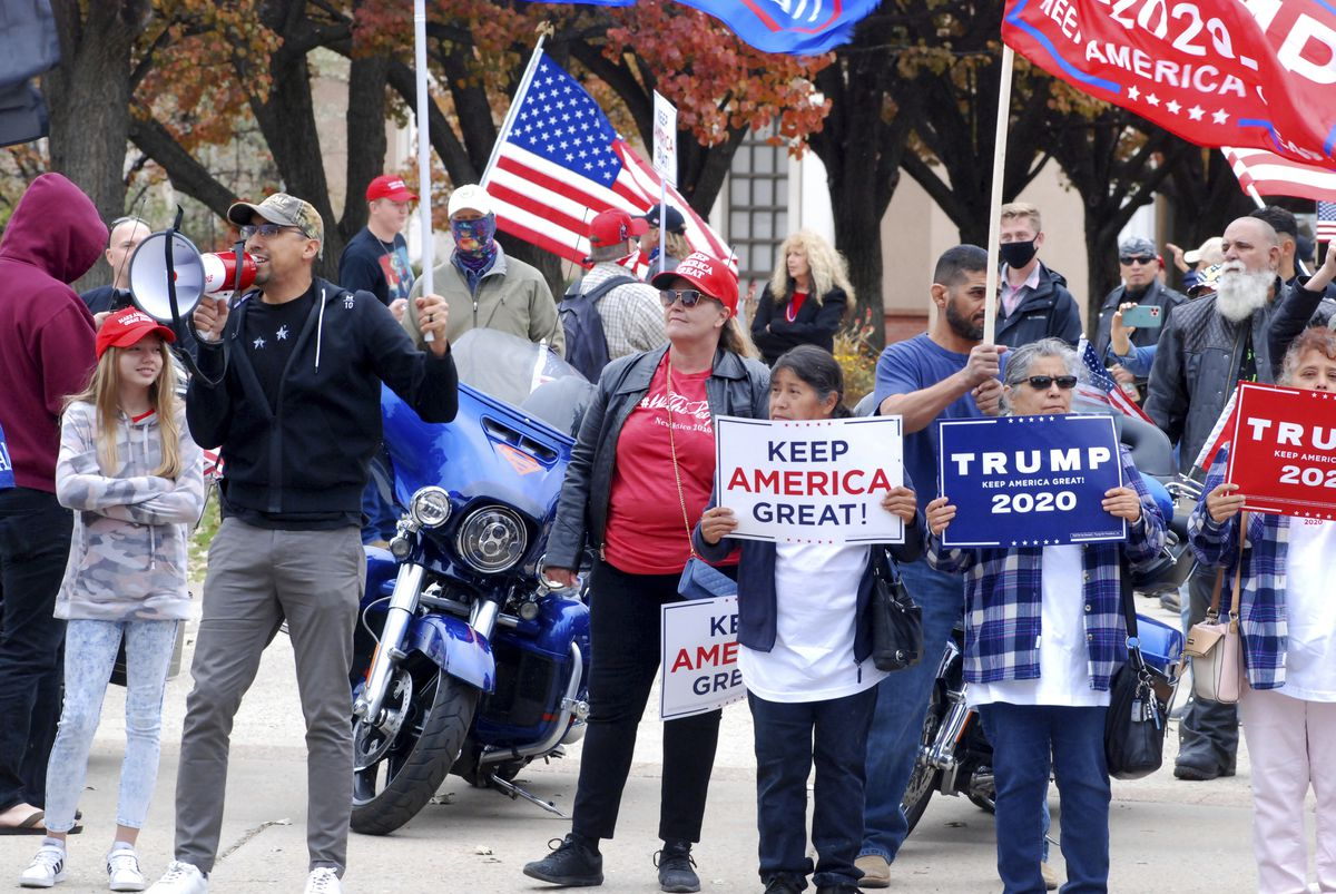 Donald Trump supporters rally outside the New Mexico Capitol in Santa Fe in November 2020.