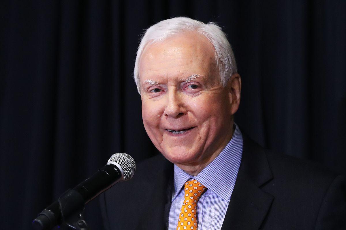 U.S. Sen. Orrin Hatch, R-Utah speaks during the Utah Republican election night party at the Vivint Smart Home Arena in Salt Lake City on Tuesday, Nov. 6, 2018.
