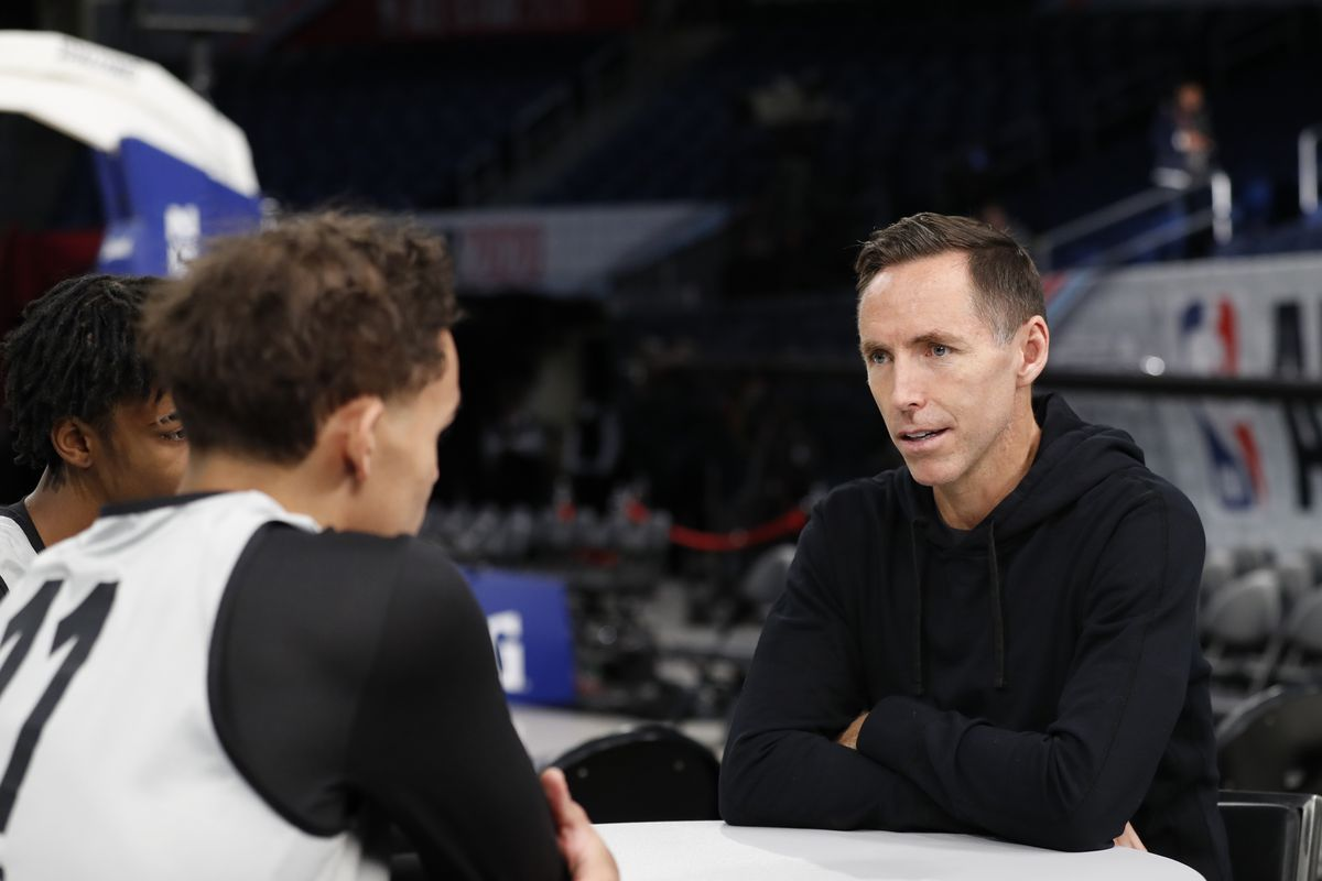 Former NBA Player Steve Nash sits down with Trae Young of the Atlanta Hawks during Rising Stars Media Availability and Practice as part of 2020 NBA All-Star Weekend on February 14, 2020 at Wintrust Arena in Chicago, Illinois.
