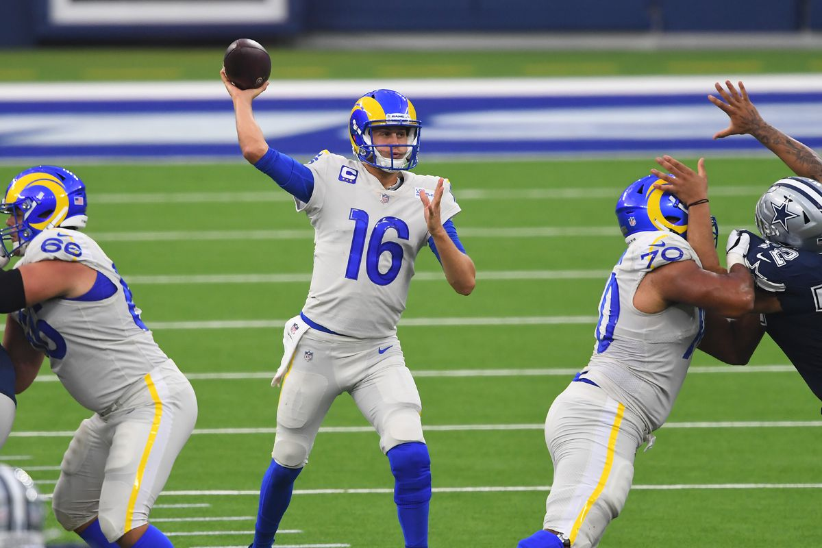 Los Angeles Rams quarterback Jared Goff passes the ball in the second quarter of the game against the Dallas Cowboys at SoFi Stadium.