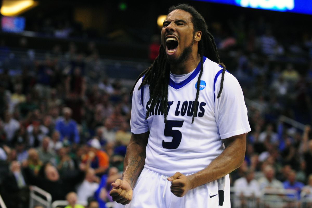 SLU guard Jordair Jett celebrating after hitting a game tying layup with 18 seconds left