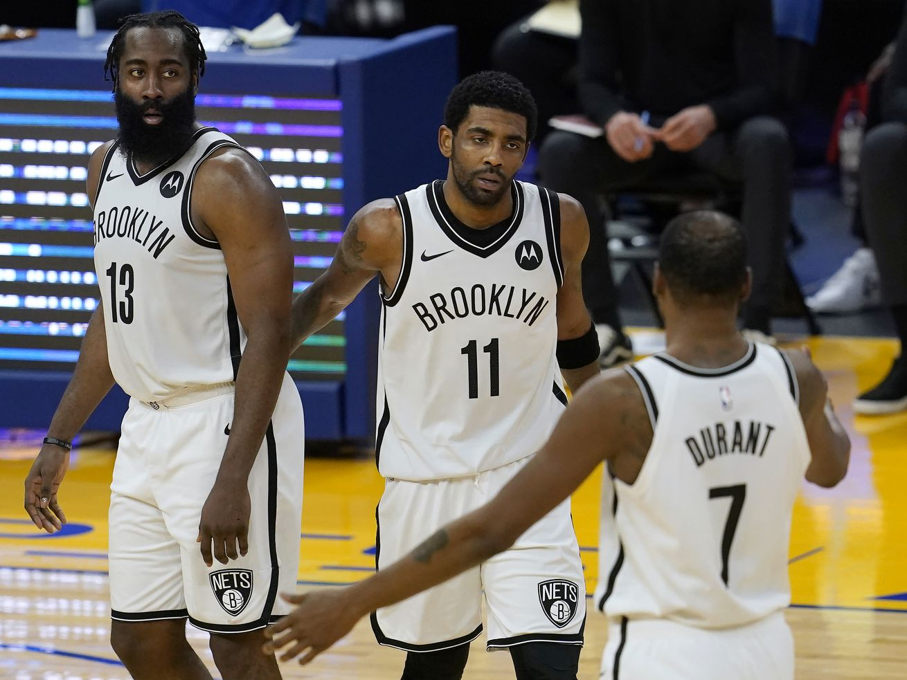 The Brooklyn Nets' Kyrie Irving, James Harden and forward Kevin Durant battled injuries throughout the 2020-21 season.
