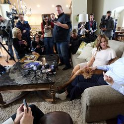 Rep. Jason Chaffetz, with his wife Julie and dog Ruby, talks to members of the media about his resignation at home in Alpine on Thursday, May 18, 2017.