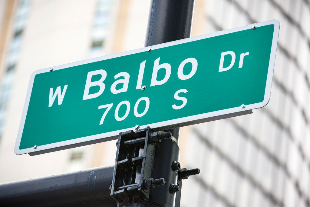 Balbo Drive street sign where Balbo intersects with State Street. | James Foster/For the Sun-Times