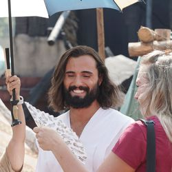 Anthony Butters, who plays Jesus, cools off between takes as The Church of Jesus Christ of Latter-day Saints' production of the fourth season of Book of Mormon videos is filmed near Springville on Monday, July 26, 2021.