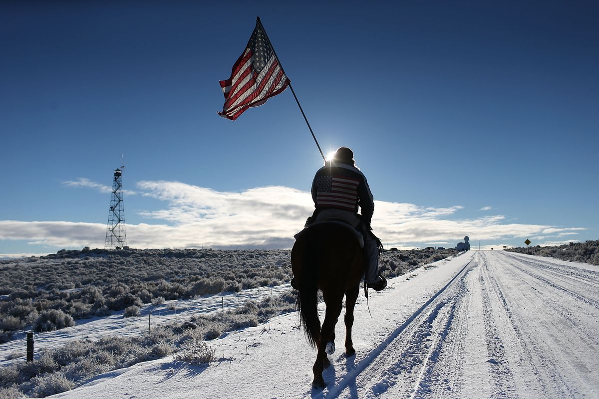Protesters near the Malheur National Wildlife Refuge during the standoff.