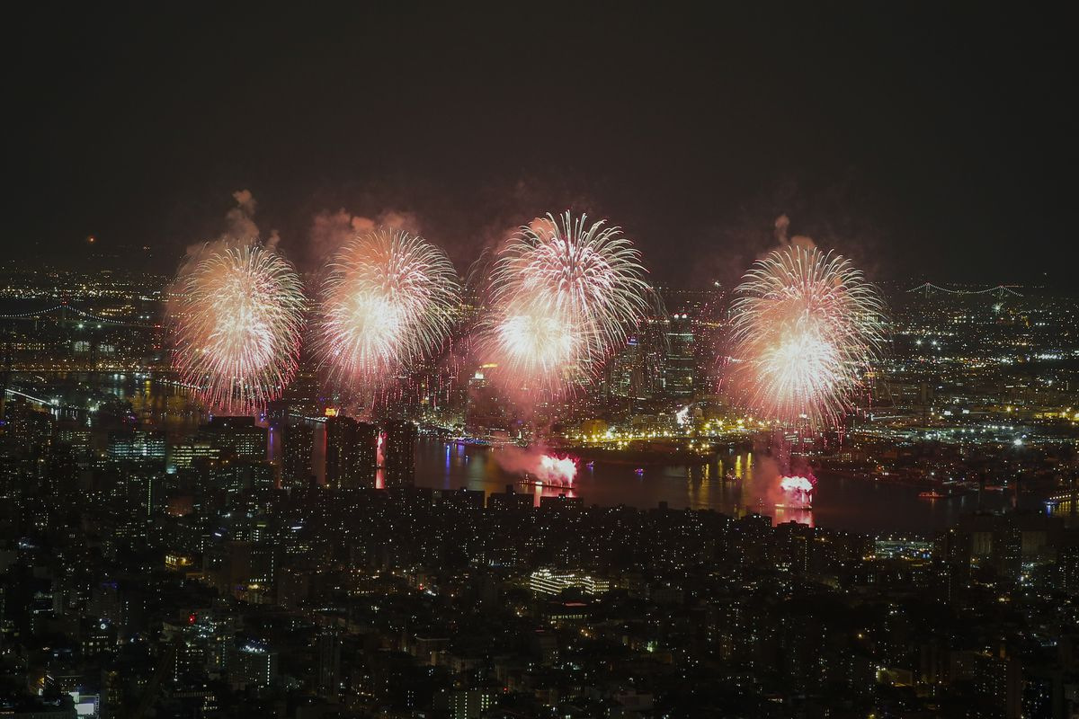 Fireworks Explode Over New York's East River During Fourth Of July Celebrations