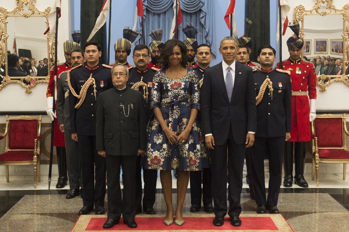 Indian President Pranab Mukherjee, left, with first lady Michelle Obama and President Obama. Not pictured: Bill Murray as Prime Minister Narendra Modi