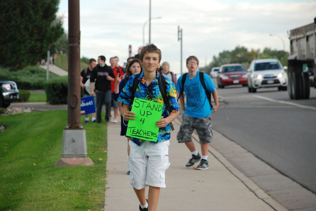Josh Billups, a junior at Pomona High School, was one of the first students to arrive at a student organized protest. Students across Jefferson County have rallied for three schools days. They're worried a proposed curriculum review panel would lead to censorship.
