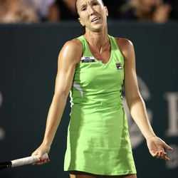 Jelena Jankovic, of Serbia, reacts to a bad shot while playing against Venus Williams at the Family Circle Cup tennis tournament in Charleston, S.C. Wednesday April 4, 2012.