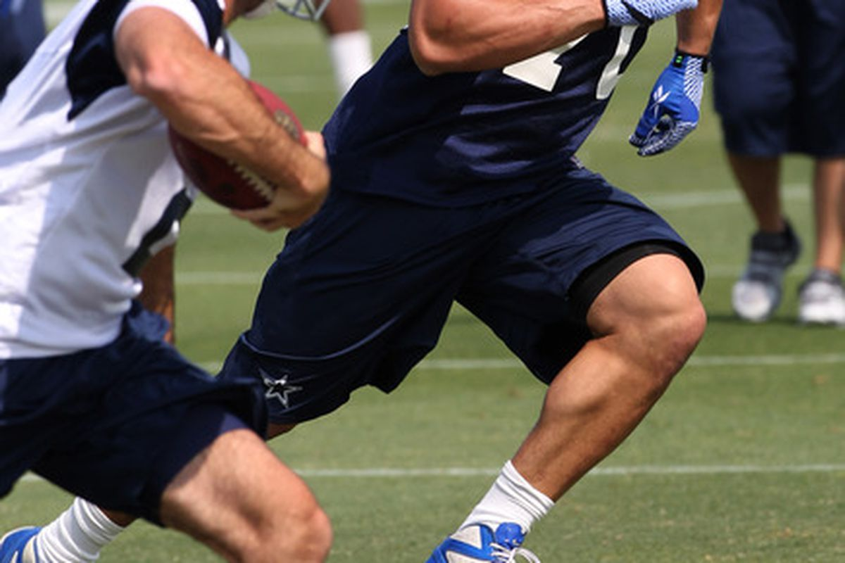May 4, 2012; Irving, TX, USA; Dallas Cowboys third round draft pick Tyrone Crawford (70) in action during rookie mini-camp at Dallas Cowboys headquarters.  Mandatory Credit: Matthew Emmons-US PRESSWIRE