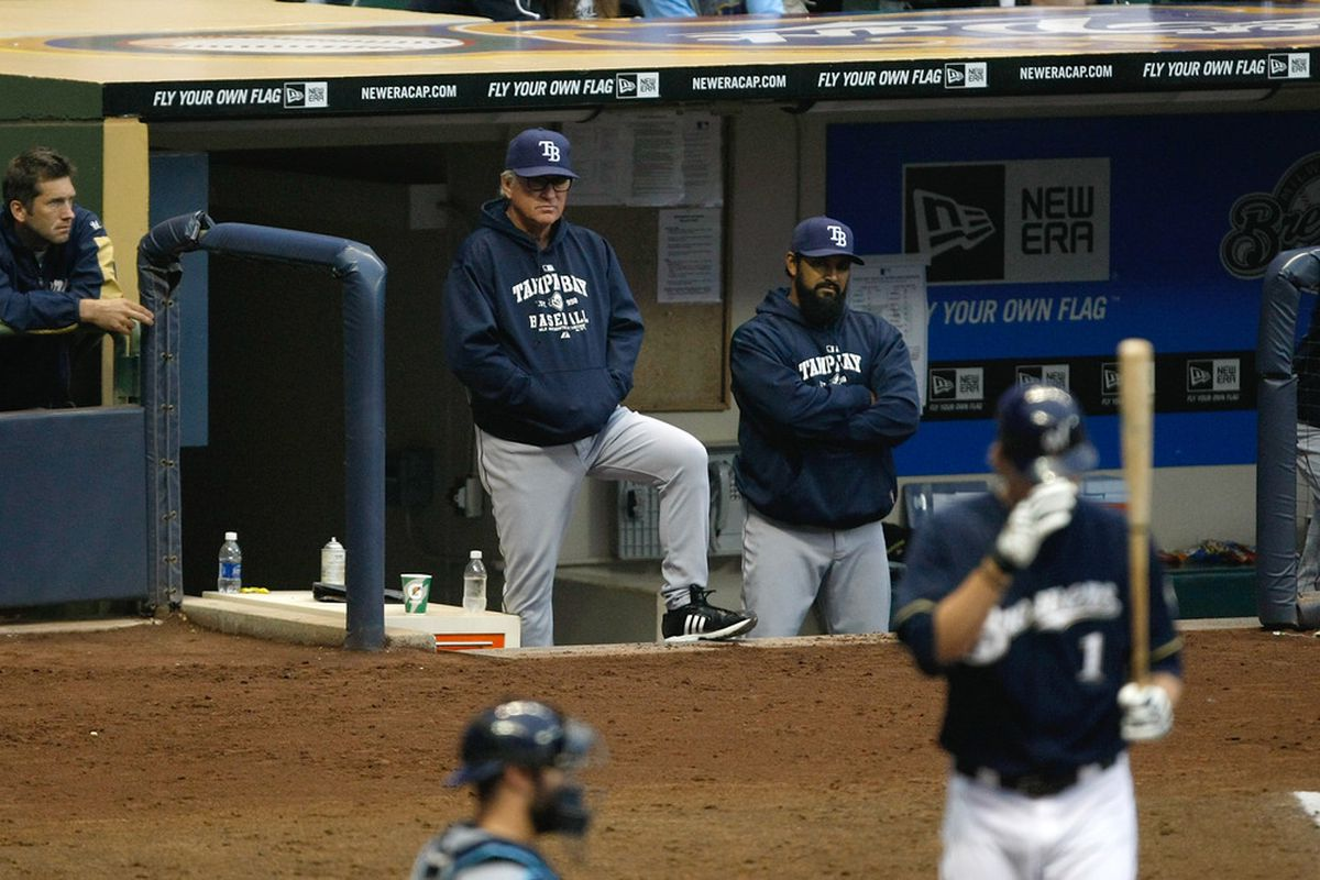 MILWAUKEE, WI - JUNE 20: Joe Maddon #70 of the Tampa Bay Rays looks on against the Milwaukee Brewers at the Miller Park on June 20, 2011 in Milwaukee, Wisconsin. The Rays defeated the Brewers 8-4. (Photo by Scott Boehm/Getty Images)