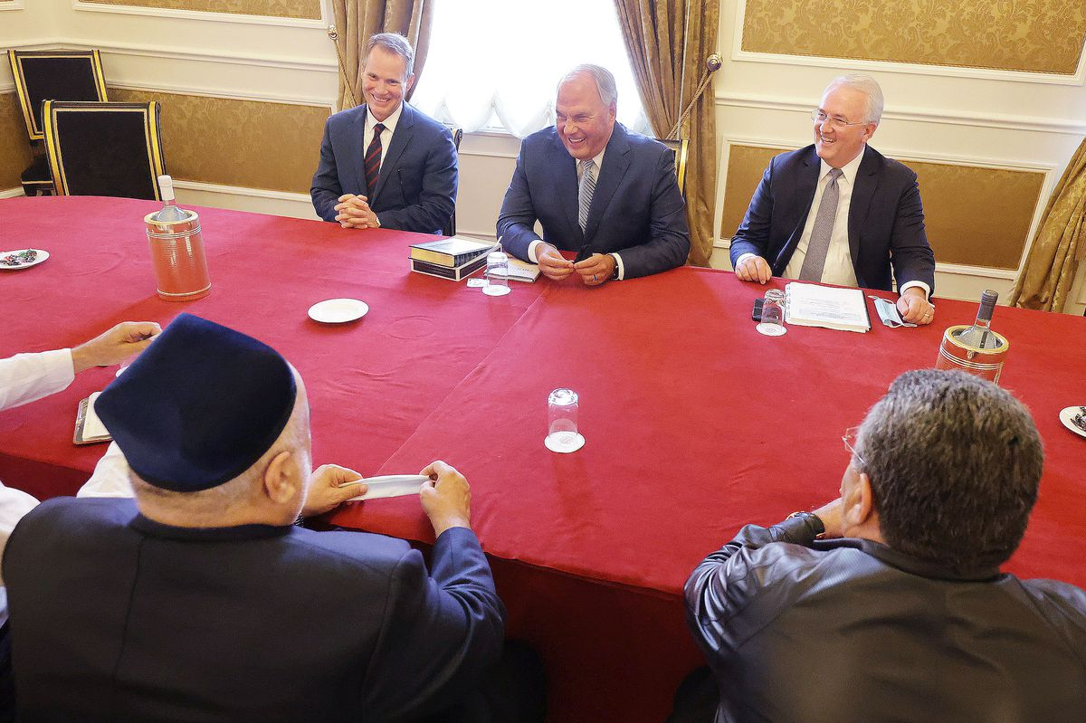 Elder Ronald A. Rasband, a member of the Quorum of the Twelve Apostles of The Church of Jesus Christ of Latter-day Saints, center, and Elder Jack N. Gerard, a member of the Seventy, meet with Haji Allahshukur Hummat Pashazade, sheikh ul-Islam and grand mufti of the Caucasus, during the G20 Interfaith Forum in Bologna, Italy, on Saturday, Sept. 11, 2021. Ed Rowe is also pictured,  left.