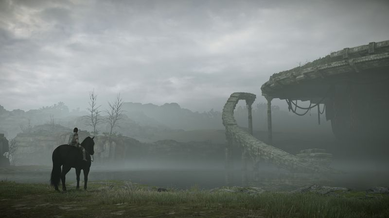 Shadow of the Colossus - Wander and Agro looking at the destroyed bridge
