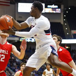 The Cornell Big Red take on the UConn Huskies in a men's college basketball game at the XL Center in Hartford, CT on November 20, 2018.