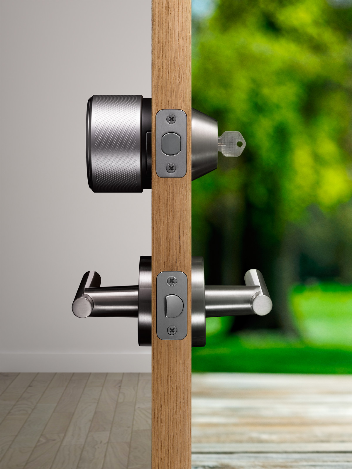 The August Smart Lock only goes on the inside of the door.