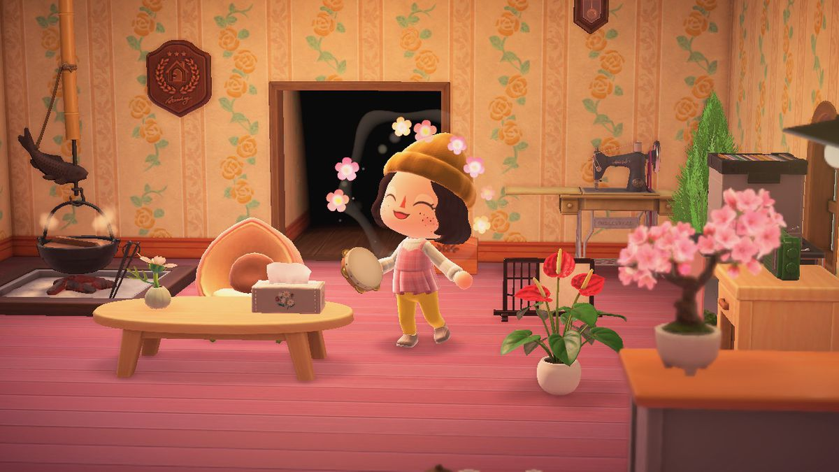 Animal Crossing character wearing a hat and cute outfit holding a tambourine
