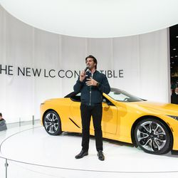 A representative with Lexus introduces the LC 500 Saturday at the 2020 Chicago Auto Show at McCormick Place.
