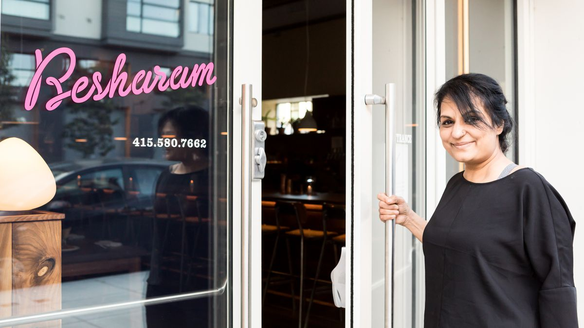 The chef Heena Patel standing outside of her restaurant Besharam in May 2018