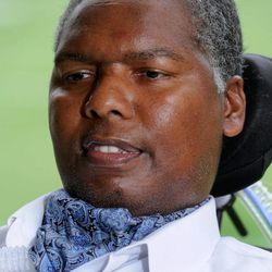 O.J. Brigance, former NFL linebacker and current director of player development for the Baltimore Ravens, sits at the football team's practice facility in Owings Mills, Md., Sept. 5, 2012. Brigance was diagnosed in 2007 with amyotrophic lateral sclerosis, or ALS, also known as Lou Gehrig's disease. The manner in which he's fought it has been inspirational to the Ravens, notably linebacker Ray Lewis.