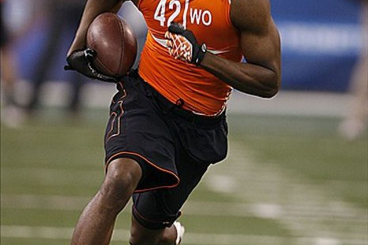 Feb 26, 2012; Indianapolis, IN, USA; Miami Hurricanes wide receiver tommy Streeter participates in a catch and run drill during the NFL Combine at Lucas Oil Stadium. Mandatory Credit: Brian Spurlock-US PRESSWIRE