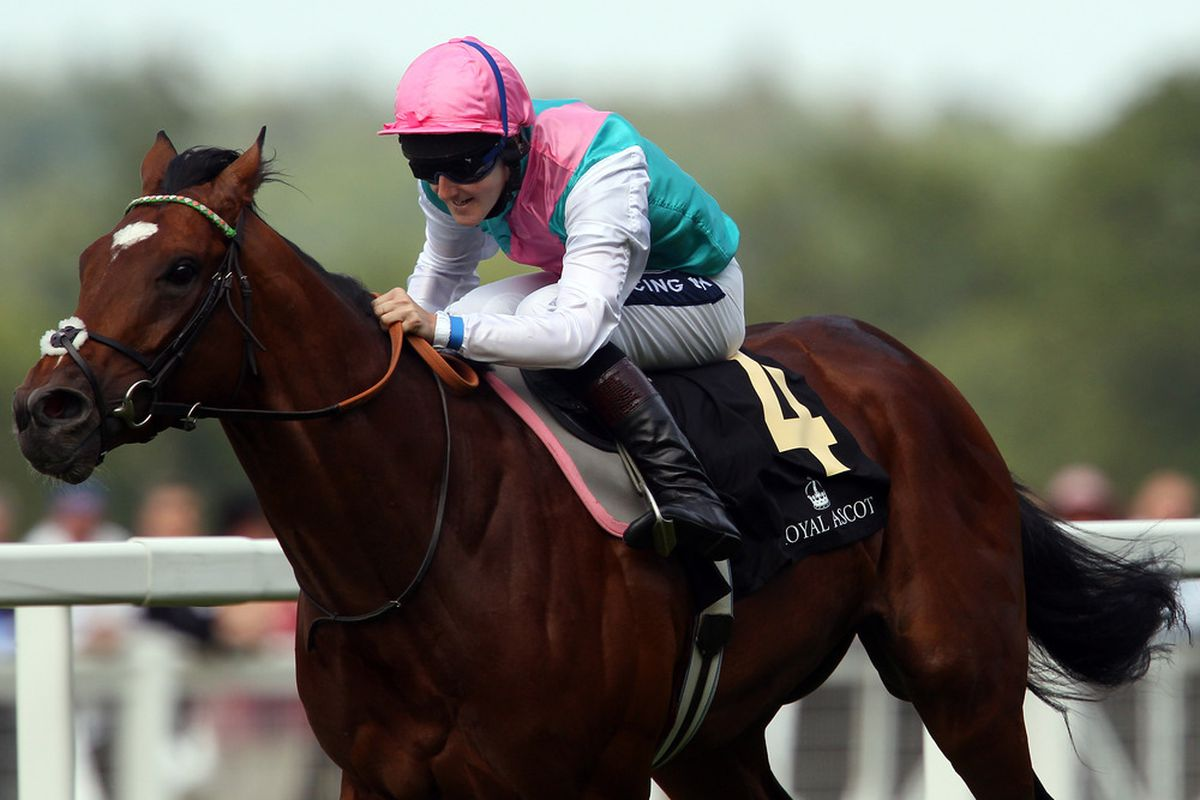 ASCOT, ENGLAND - JUNE 14:  Frankel ridden by Tom Queally wins The St James's Palace Stakes during day one of Royal Ascot at Ascot racecourse on June 14, 2011 in Ascot, England.  (Photo by Julian Finney/Getty Images)