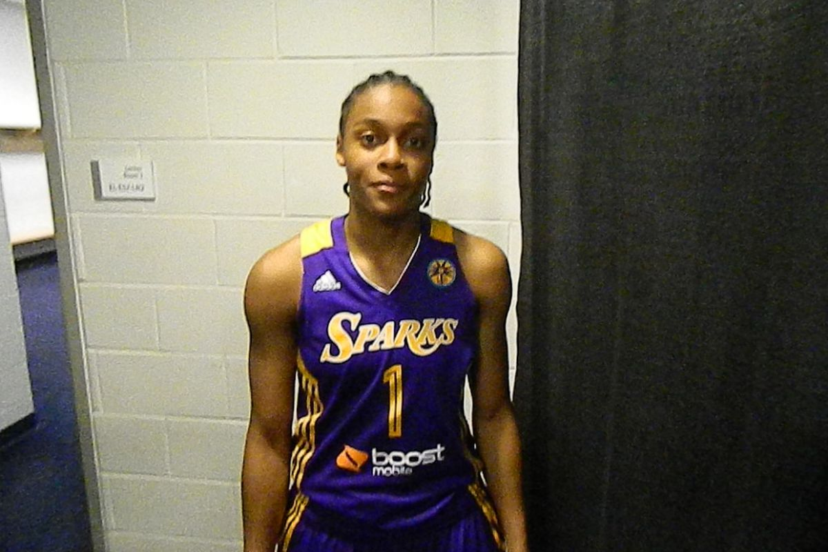 Los Angeles Sparks rookie A'dia Mathies at the Prudential Center for a game against the New York Liberty.