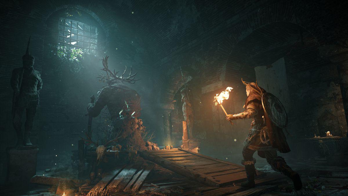 Eivor entering an underground ruin