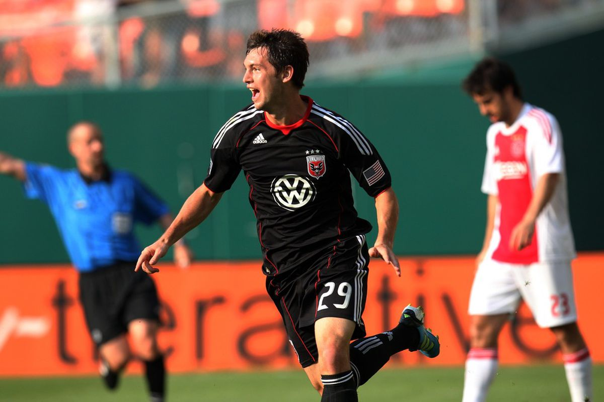 WASHINGTON, DC - MAY 22: Blake Brettschneider #29 of D.C. United celebrates after a goal against Ajax at RFK Stadium on May 22, 2011 in Washington, DC. (Photo by Ned Dishman/Getty Images)