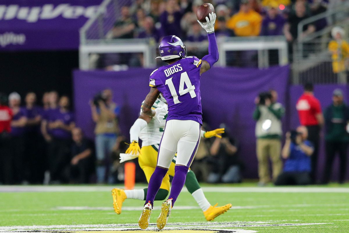 Wide receiver Stefon Diggs of the Minnesota Vikings throughs a pass intended for quarterback Kirk Cousins ruled incomplete during the game against Green Bay Packers at U.S. Bank Stadium on December 23, 2019 in Minneapolis, Minnesota.