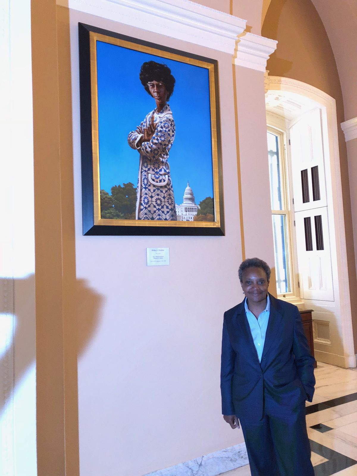 Mayor-elect Lori Lightfoot passed the portrait of Shirley Chisholm, the New Yorker who was the first African American woman to serve in Congress and the first African American to seek the presidency. | Lynn Sweet/Sun-Times photo