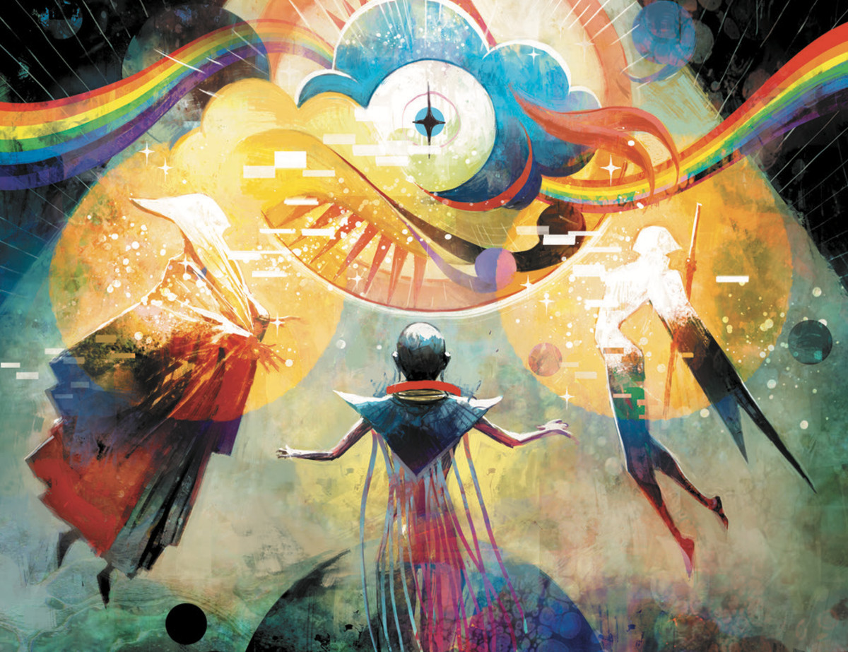 Three figures meet in a swirls of rainbow colors, clouds, and pixelated light in Decorum #4, Image Comics (2020).