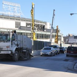Traffic backed up on Clark behind the street sweeper -