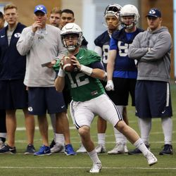 Quarterback Tanner Mangum looks to pass during Brigham Young University football practice in Provo on Monday, Feb. 27, 2017.  He discussed the challenge depression has posed in his life during a recent #MentalHealthMatters campaign the university sponsored.