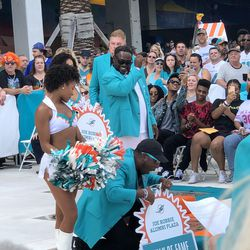 Mark Clayton unveils his place in the Miami Dolphins Walk of Fame on December 2, 2018 in a ceremony in the Joe Robbie Alumni Plaza at Hard Rock Stadium, Miami Gardens, Florida.