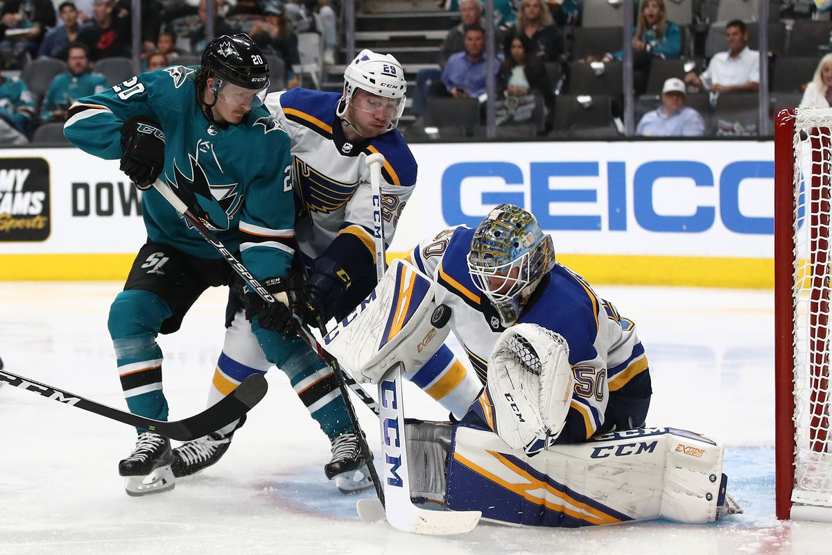 SAN JOSE, CALIFORNIA - MAY 13: Jordan Binnington #50 of the St. Louis Blues makes a save against the San Jose Sharks in Game Two of the Western Conference Final during the 2019 NHL Stanley Cup Playoffs at SAP Center on May 13, 2019 in San Jose, California