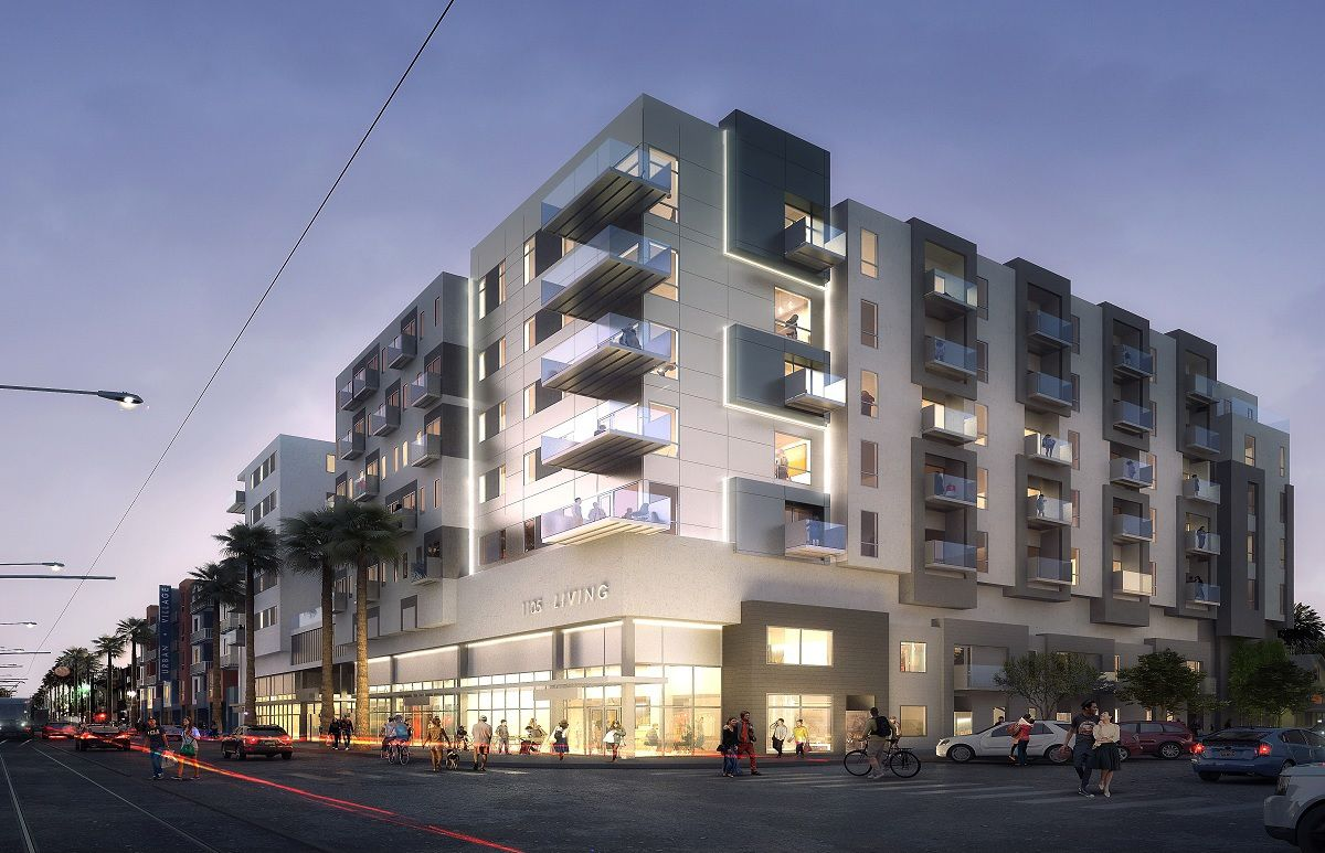 A rendering of the project, which has balconies for some but not all units and ground floor retail.