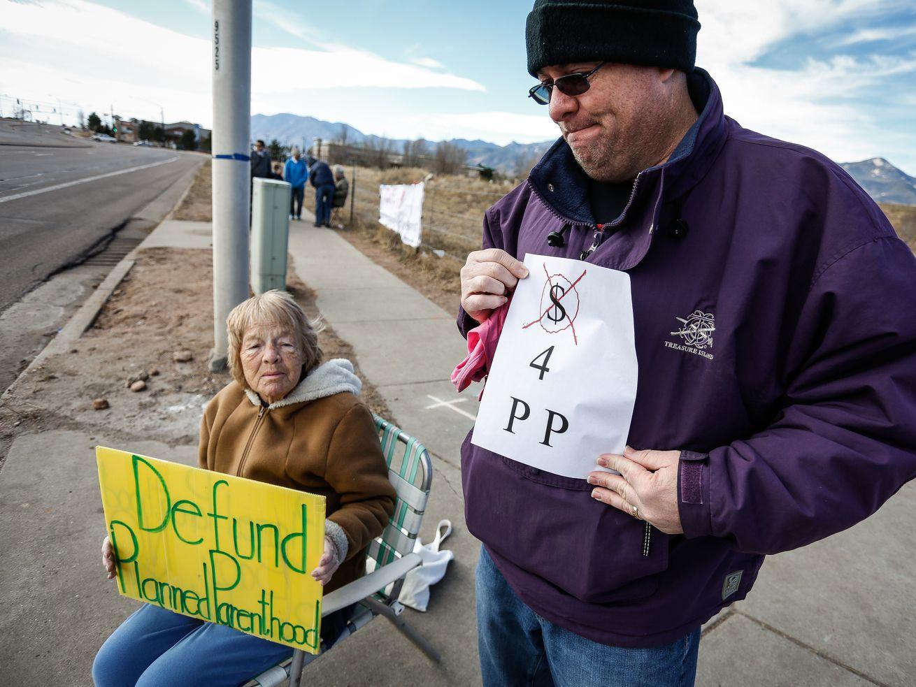 Protesters outside of the Colorado Springs Westside Health Center February 11, 2017, in Colorado Springs, Colorado.
