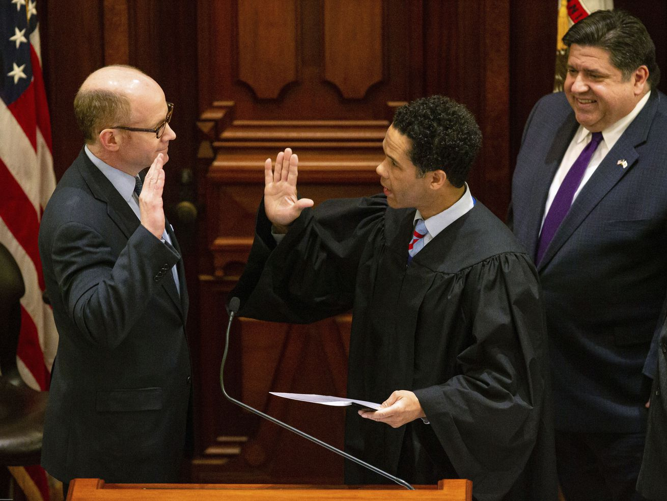 Don Harmon takes the oath of office