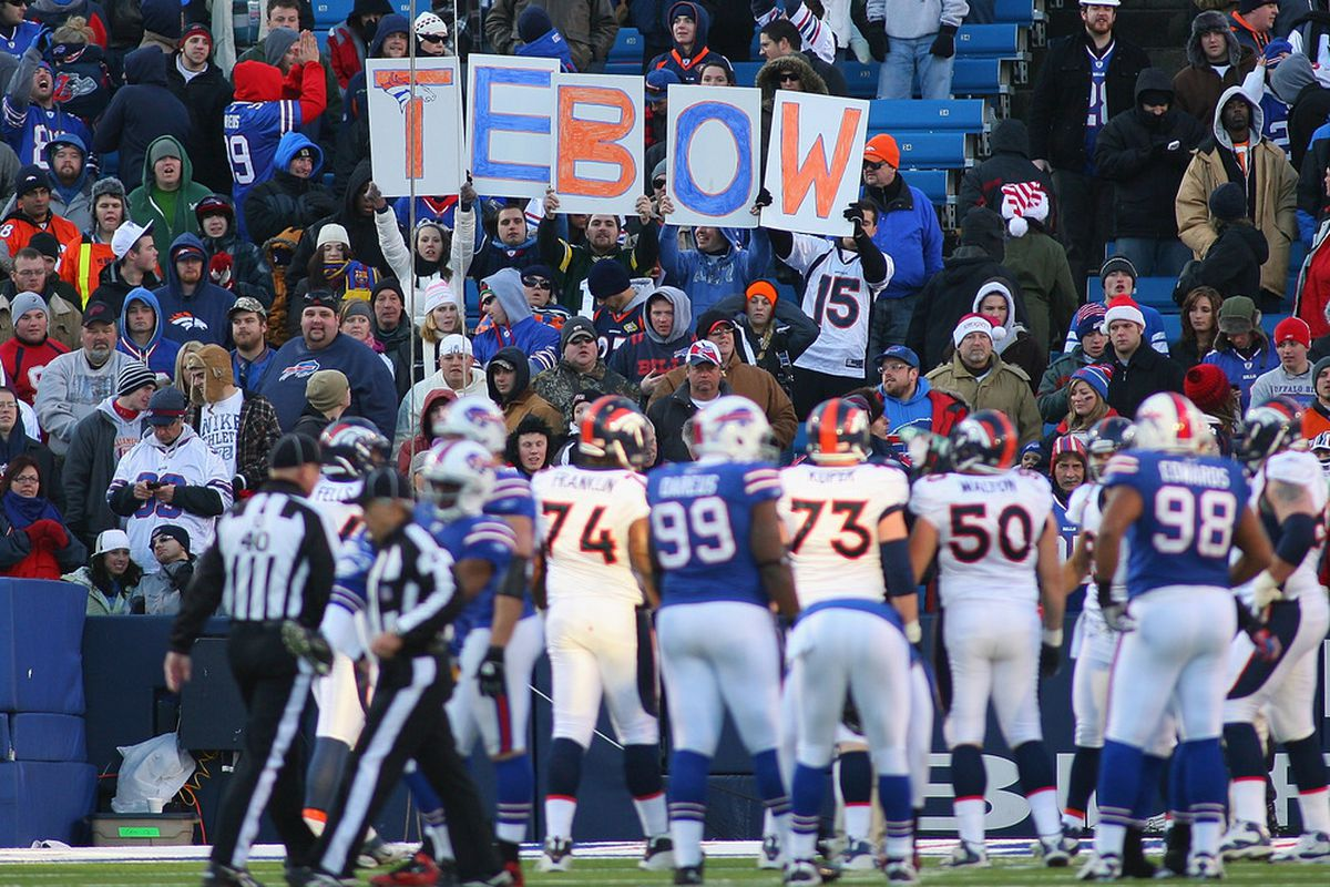 ORCHARD PARK, NY - DECEMBER 24: Fans of  Tim Tebow #15 of the Denver Broncos spell out his name at Ralph Wilson Stadium on December 24, 2011 in Orchard Park, New York. Buffalo won 40-14.  (Photo by Rick Stewart/Getty Images)