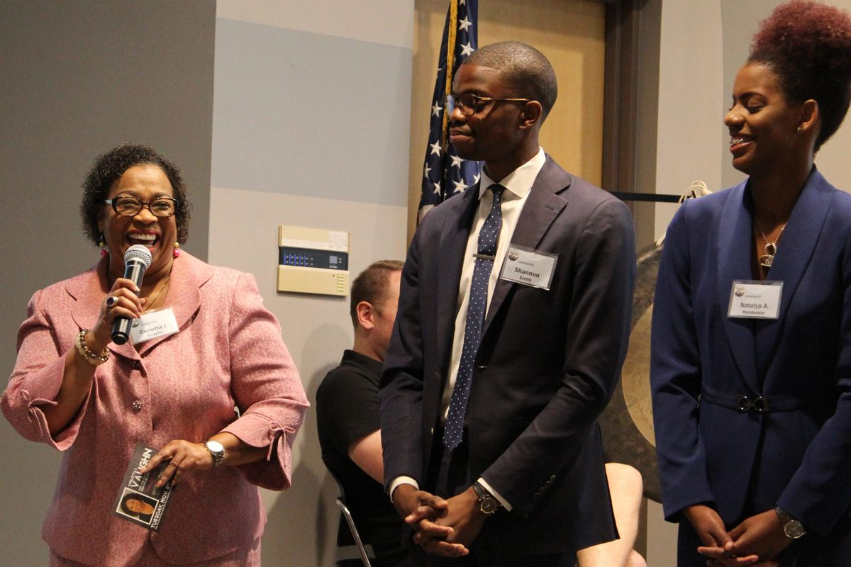Corletta Vaughn, left, speaks during a candidate forum put on in September by Chalkbeat and Citizen Detroit.