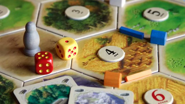 Catan, set up for play.