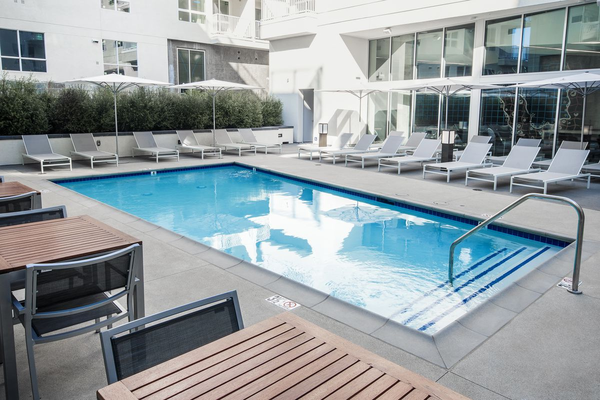 Pool deck at the building