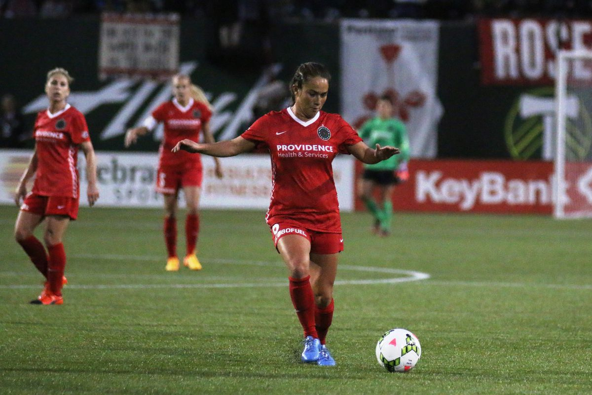 Midfielder Mana Shim in action for Portland Thorns FC. Shim tallied the equalizer early in the second half in a 2-2 draw against the Chicago Red Stars
