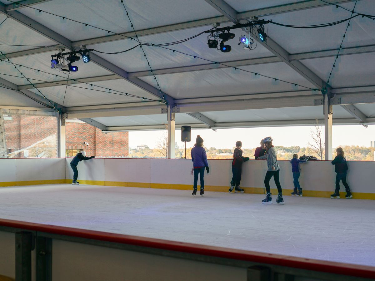 People standing on ice rink under a roof.
