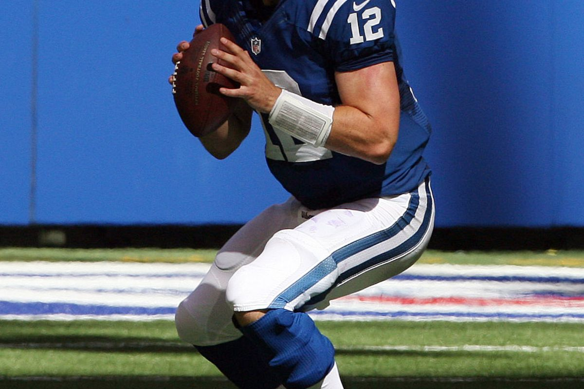 Sep 16, 2012; Indianapolis, IN, USA; Indianapolis Colts quarterback Andrew Luck (12) throws a pass against the Minnesota Vikings at Lucas Oil Stadium. Indianapolis defeats Minnesota 23-20. Mandatory Credit: Brian Spurlock-US PRESSWIRE