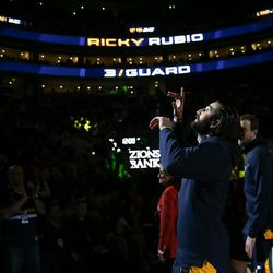 Utah Jazz guard Ricky Rubio (3) enters the court before the game against the Cleveland Cavaliers at Vivint Smart Home Arena in Salt Lake City on Saturday, Dec. 30, 2017.