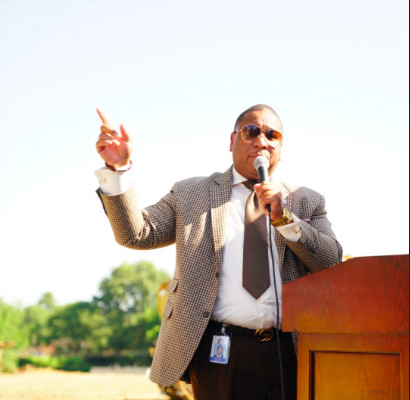 Superintendent Joris Ray speaks at the groundbreaking ceremony for Alcy Elementary in May 2019.