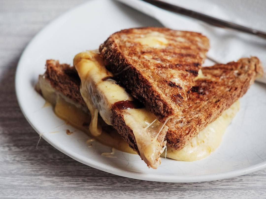 Cheese toastie at Froth and Rind, one of the best places to eat cheese in London