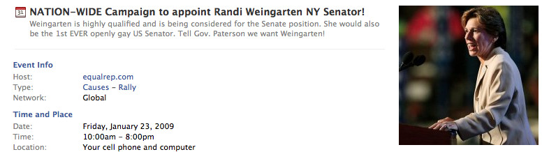 The Facebook campaign to make Weingarten senator.
